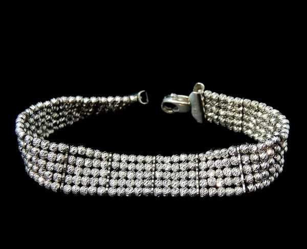 Silver Bead Tennis Bracelet ITALY the Look of 365 Diamonds - Premier Estate Gallery  - 1