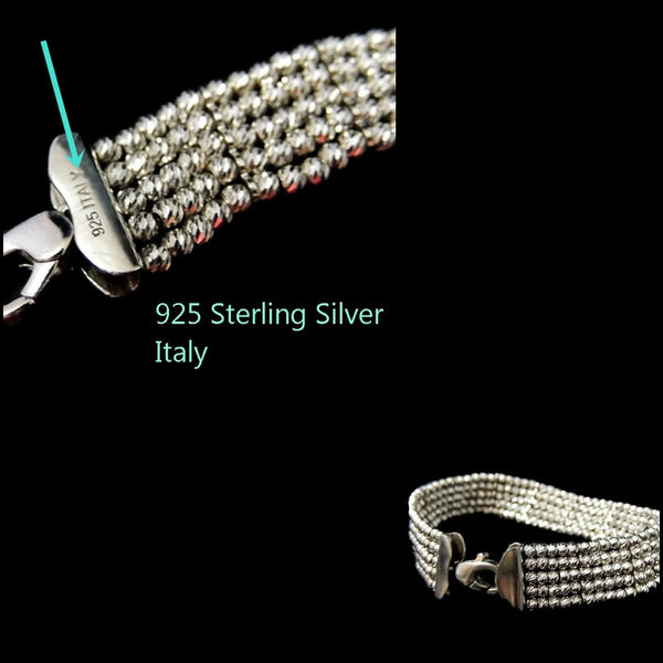 Silver Bead Tennis Bracelet ITALY the Look of 365 Diamonds - Premier Estate Gallery  - 5