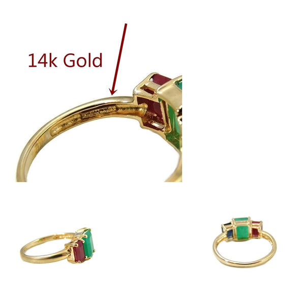 Emerald Sapphire Ruby 14k Gold Ring 2.77 ctw Gemstones - Premier Estate Gallery  - 4