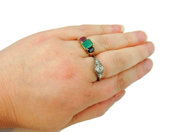Emerald Sapphire Ruby 14k Gold Ring 2.77 ctw Gemstones - Premier Estate Gallery  - 5