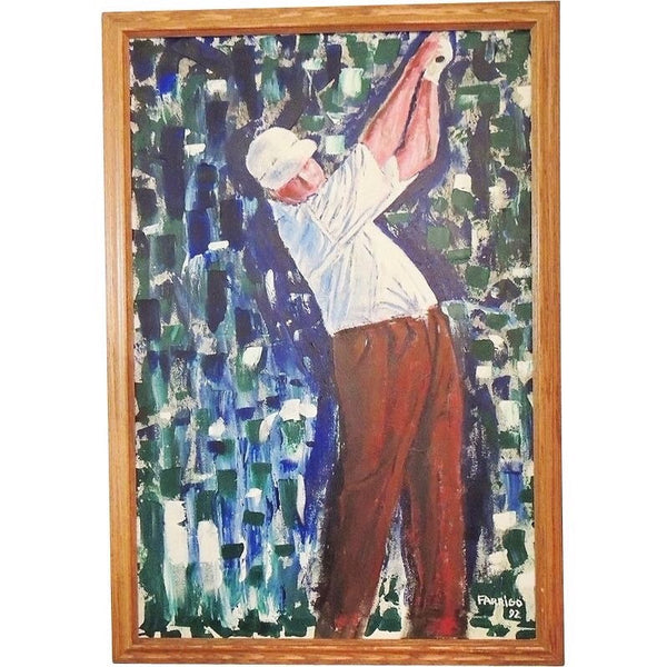 Large GOLFER Oil Painting  Over 3 Ft  Framed