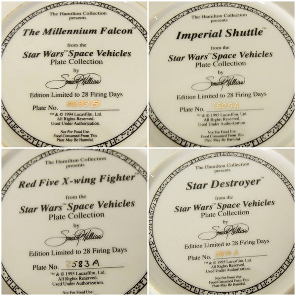 Star Wars Vehicle Collector's Plates Space Vehicles COA - Premier Estate Gallery  - 4