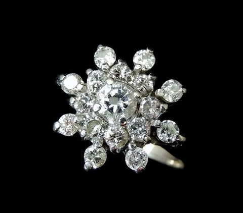 Estate Diamond Cluster Engagement Ring 14k White Gold - Premier Estate Gallery  - 1