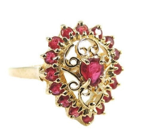 RUBY Filigree Ring  10k Gold  .94 ctw Estate - Premier Estate Gallery  - 1