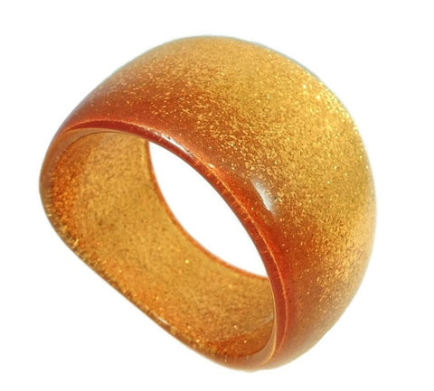 Vintage Lucite Gold Glitter Bangle Asymmetrical 1970s - Premier Estate Gallery  - 1