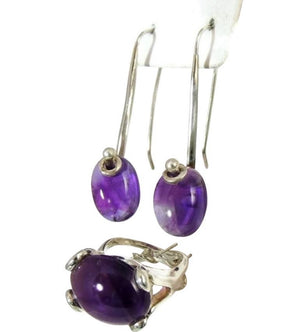 MOD Amethyst Sterling Silver Ring Earring Set 35 ctw - Premier Estate Gallery  - 1