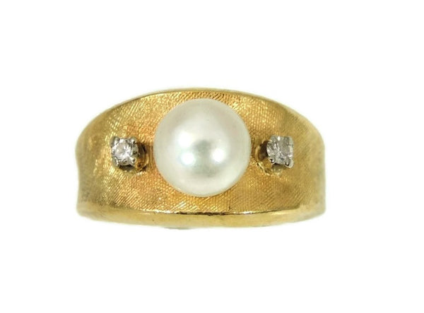 Cultured Pearl Diamond Ring 14k Gold  Vintage - Premier Estate Gallery  - 2