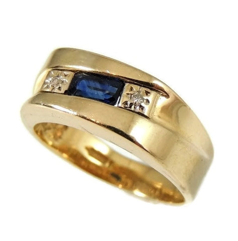 Sapphire Diamond Accent Ring 14k Gold Unisex - Premier Estate Gallery  - 1