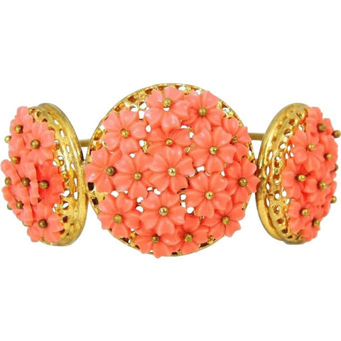 Vintage Hinged Bangle Cuff Bracelet Flower Bouquets Coral Peach - Premier Estate Gallery  - 1