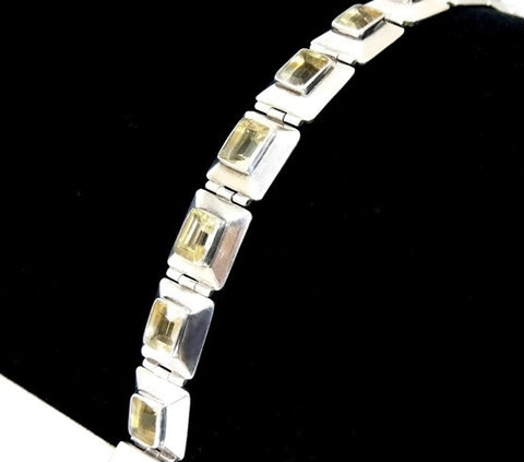 Citrine Silver Panel Link Bracelet Over 14 ctw Gemstones Silver - Premier Estate Gallery  - 1