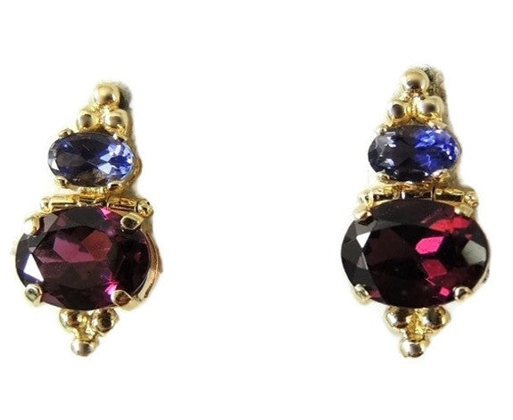 Gold Rhodolite Garnet Tanzanite Earrings 14k Gold - Premier Estate Gallery  - 1