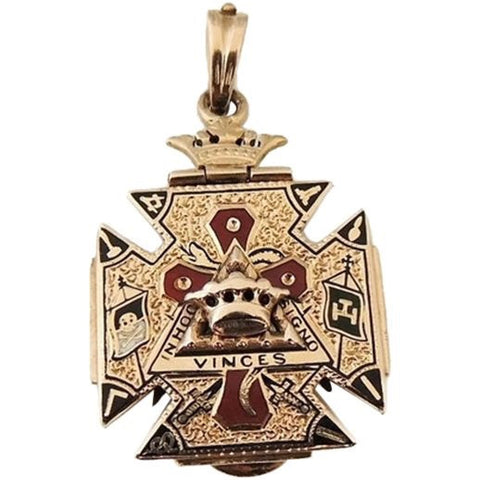 Antique Masonic Watch Fob 14k Gold Enamel 32nd Degree Mason's - Premier Estate Gallery  - 1