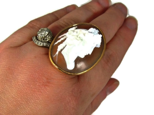HUGE Antique Cameo Ring 14k Gold - Premier Estate Gallery  - 2