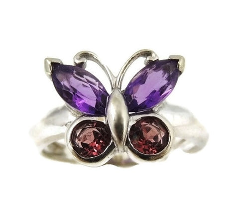 Gemstone Butterfly Ring 14k White Gold - Premier Estate Gallery  - 1