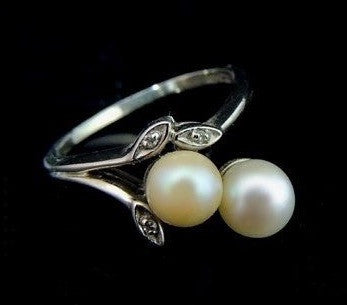 Cultured Pearl Spray Ring 14k White Gold Diamond Accents - Premier Estate Gallery