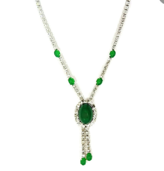 Emerald Glass Cabochon Rhinestone Necklace Vintage - Premier Estate Gallery  - 3