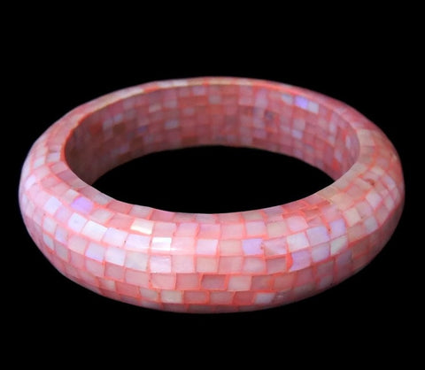 Pink Mosaic Shell Bangle Bracelet Vintage Boho - Premier Estate Gallery  - 1