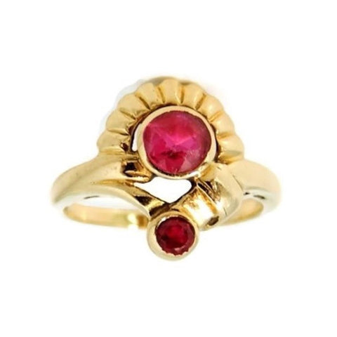 Ruby Etruscan Revival Ring 10k Gold Vintage - Premier Estate Gallery  - 1