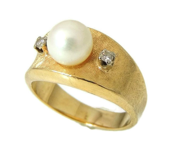 Cultured Pearl Diamond Ring 14k Gold  Vintage - Premier Estate Gallery  - 3