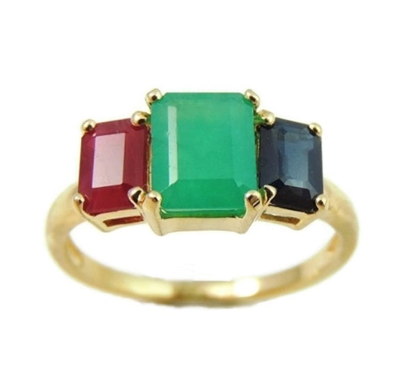 Emerald Sapphire Ruby 14k Gold Ring 2.77 ctw Gemstones - Premier Estate Gallery  - 1