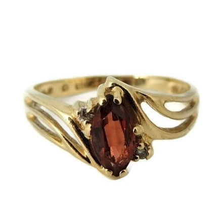 Garnet Ring 10k Gold Diamond Accents - Premier Estate Gallery  - 1