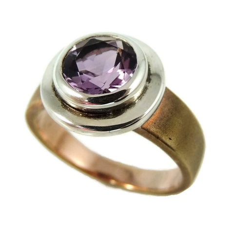 Amethyst Ring Bezel Set Sterling Silver and Rose Gold Plate - Premier Estate Gallery  - 1