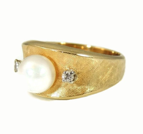 Cultured Pearl Diamond Ring 14k Gold  Vintage - Premier Estate Gallery  - 6