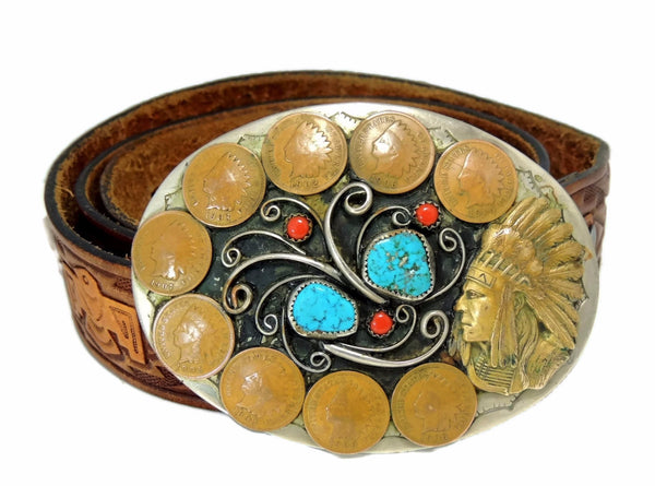 Men's Vintage Cowboy Belt Buckle Indian Head Coins
