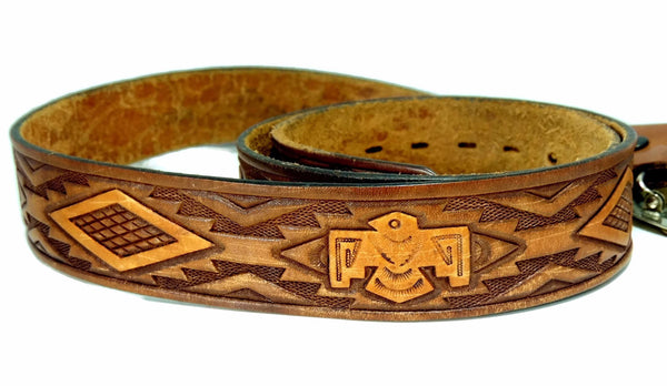 Vintage Tooled Leather Thunderbird Belt