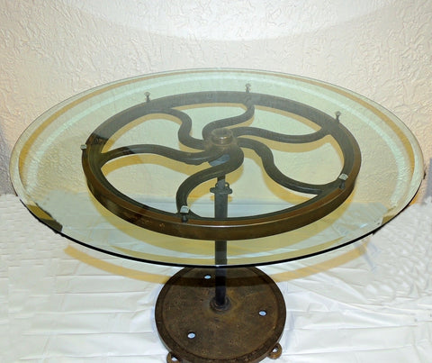 Industrial Cast Iron Wheel Cafe Table Antique Printing Press Must See - Premier Estate Gallery  - 1
