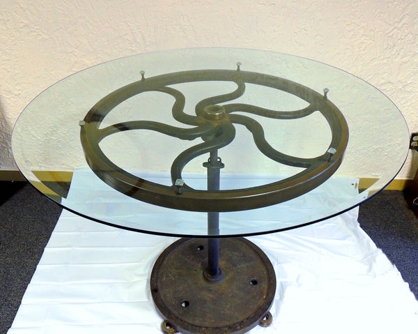 Industrial Cast Iron Wheel Cafe Table Antique Printing Press Must See - Premier Estate Gallery  - 2