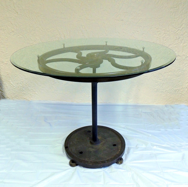 Industrial Cast Iron Wheel Cafe Table Antique Printing Press Must See - Premier Estate Gallery  - 3