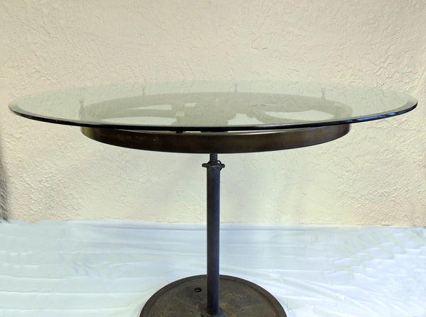 Industrial Cast Iron Wheel Cafe Table Antique Printing Press Must See - Premier Estate Gallery  - 10