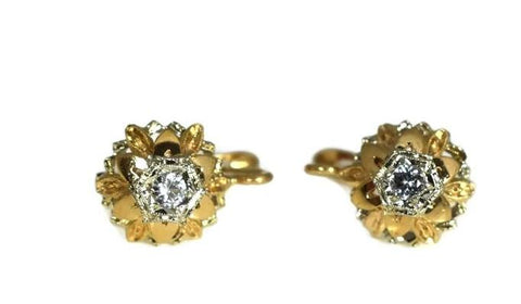Estate 14k Gold White Topaz Flower Earrings Italy - Premier Estate Gallery