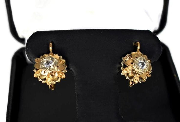 Estate 14k Gold White Topaz Flower Earrings Italy - Premier Estate Gallery 2