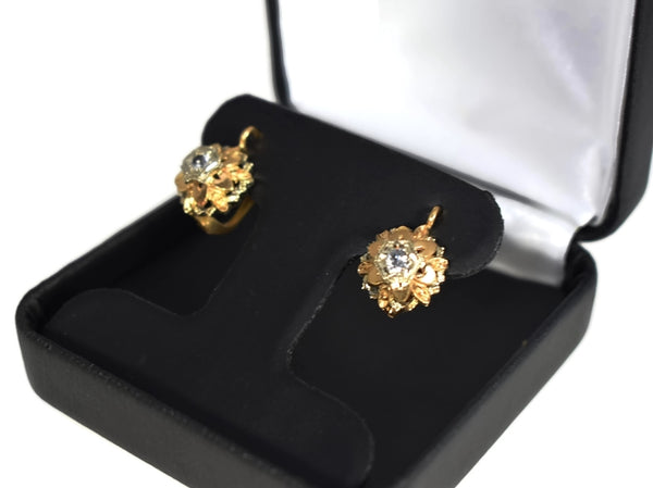 Estate 14k Gold White Topaz Flower Earrings Italy - Premier Estate Gallery 3