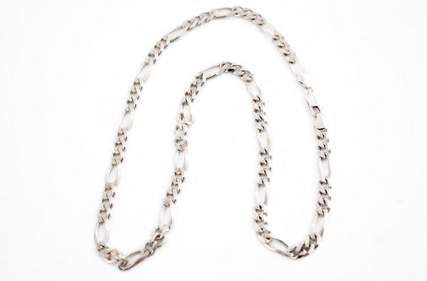 Vintage Sterling Silver Figaro Chain 22 inch Men's Necklace Heavy - Premier Estate Gallery 1