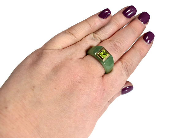 14k Jade Carved Ring with Peridot August Birthstone Ring
