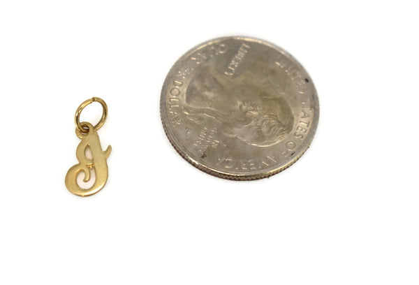 Vintage 14k Gold J Charm, Solid Gold Dainty Charm