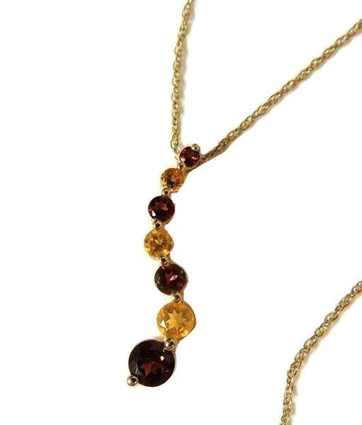 Garnet Citrine Gemstone Journey Necklace 14k Gold - Premier Estate Gallery  - 1