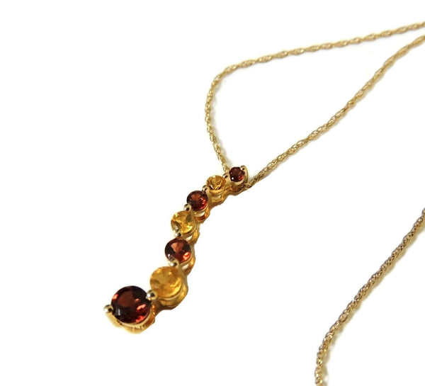 Garnet Citrine Gemstone Journey Necklace 14k Gold - Premier Estate Gallery  - 3