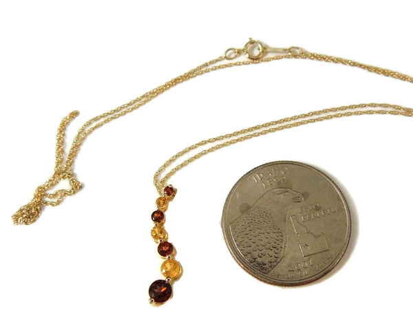 Garnet Citrine Gemstone Journey Necklace 14k Gold - Premier Estate Gallery  - 6