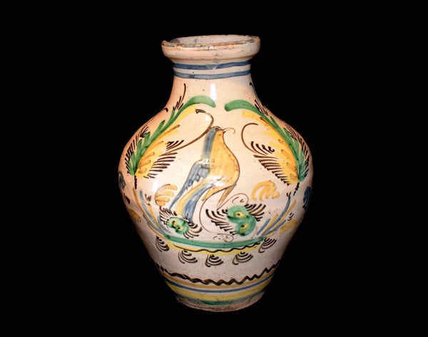 Antique Tin Glaze Earthenware Jug with Bird and Fern Decoration Italy - Premier Estate Gallery