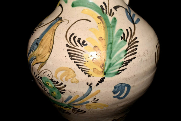 19th Cent Tin Glaze Earthenware Jug with Bird and Fern Decoration Italy