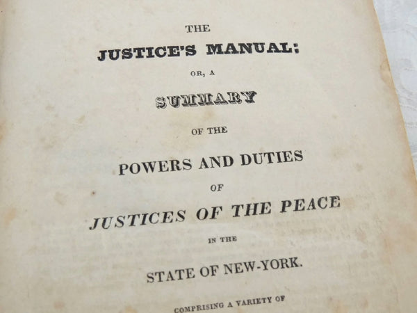 1825 The Justice's Manual State of NY - Thomas Waterman - 1st Edition - Rare Book - Premier Estate Gallery  - 2