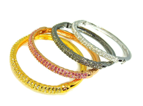 Nolan Miller Perfect Pave Bangle Bracelets Set of 4 Rose Silver Gold Gunmetal Tones w Rhinestones - Premier Estate Gallery  - 1