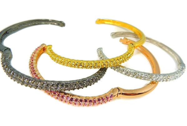 Nolan Miller Perfect Pave Bangle Bracelets Set of 4 Rose Silver Gold Gunmetal Tones w Rhinestones - Premier Estate Gallery  - 3