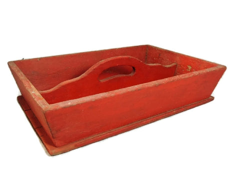 Primitive Red Painted Antique Pine Cutlery Box - Premier Estate Gallery  - 1