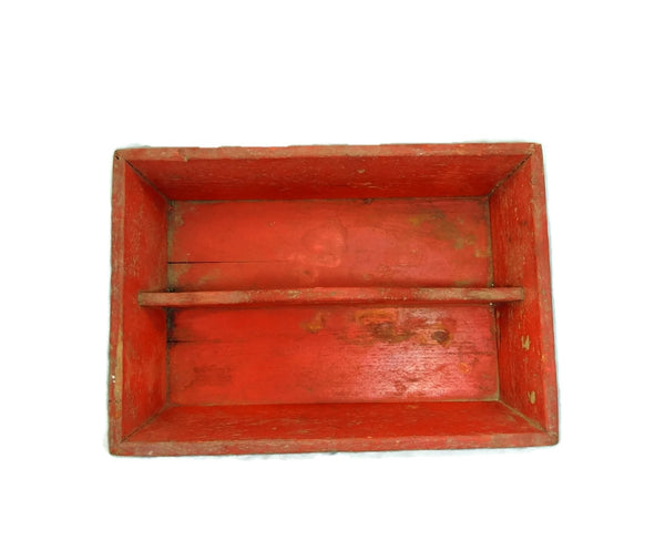 Primitive Red Painted Antique Pine Cutlery Box - Premier Estate Gallery  - 2