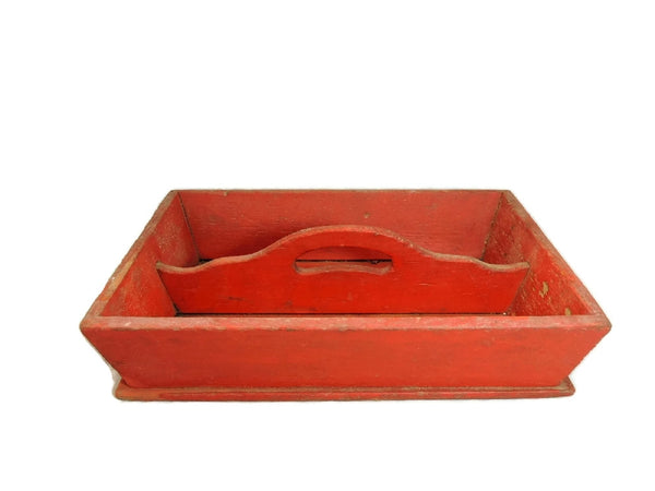 Primitive Red Painted Antique Pine Cutlery Box - Premier Estate Gallery  - 3
